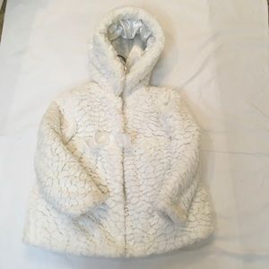 Pistachio White hooded Cozy faux Fur Coat